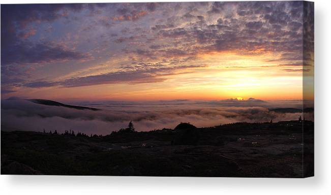 Cadillac Canvas Print featuring the photograph Cadillac Sunset IIi Panorama by Rockstar Artworks