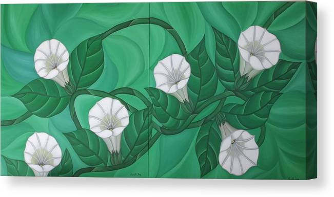 Marinella Owens Canvas Print featuring the painting Calystgia Sepium by Marinella Owens