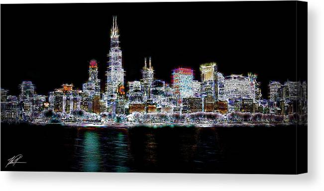 Chicago Canvas Print featuring the photograph Chicago By Night by Thomas Patterson