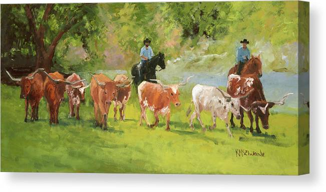 Chisholm Trail Canvas Print featuring the painting Chisholm Trail Texas Longhorn Cattle Drive Oil Painting By Kmcelwaine by Kathleen McElwaine