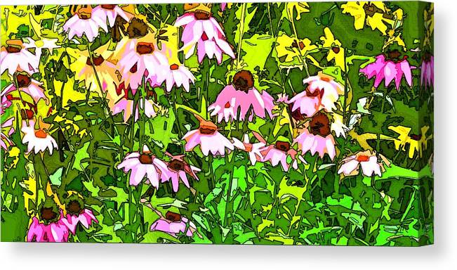 Contemporary Canvas Print featuring the digital art Echinacea Imagined by Linda Mears