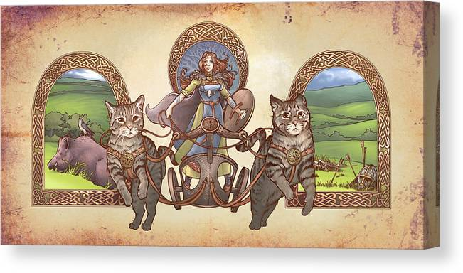 Freya Driving Her Cat Chariot Triptic Garbed Version Canvas Print