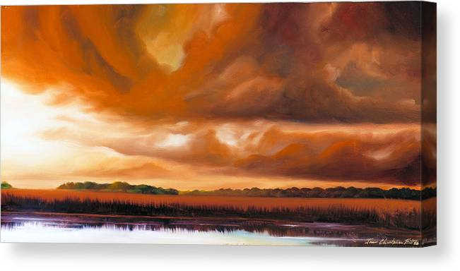 Clouds Canvas Print featuring the painting Jetties On The Shore by James Christopher Hill