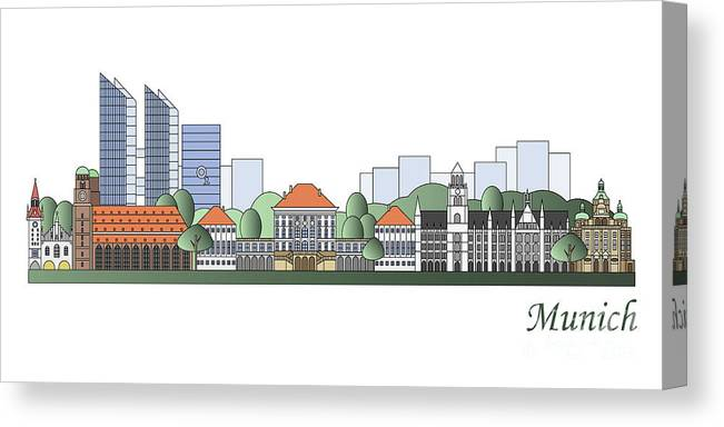 Munich Canvas Print featuring the painting Munich Skyline Colored by Pablo Romero