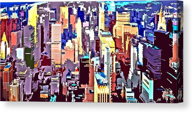 New York City Canvas Print featuring the digital art New York City Abstract by Linda Mears