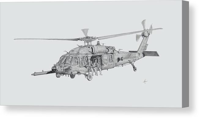 Mh-60 Canvas Print featuring the drawing On The Move by Nicholas Linehan