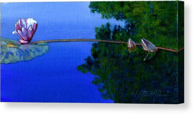 Water Liliy Canvas Print featuring the painting Peace And Beauty by John Lautermilch