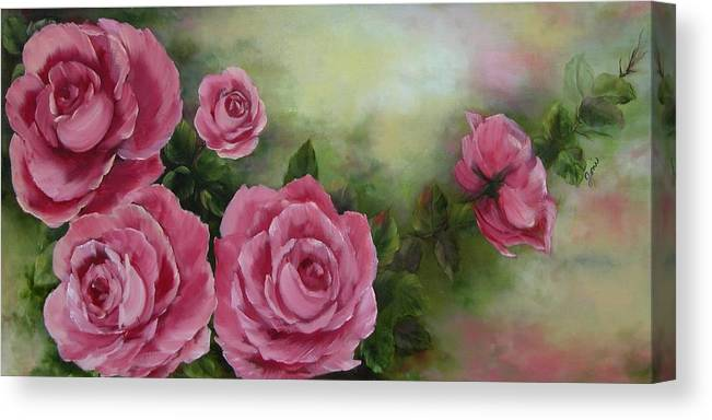 Oil Painting Canvas Print featuring the painting Pink Roses by Joni McPherson