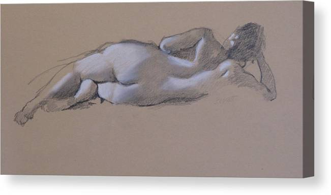 Drawing Canvas Print featuring the drawing Reclining Nude 1 by Robert Bissett