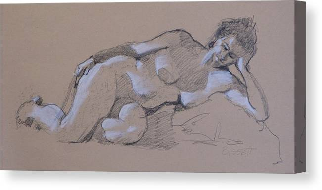 Life Canvas Print featuring the drawing Reclining Nude 2 by Robert Bissett