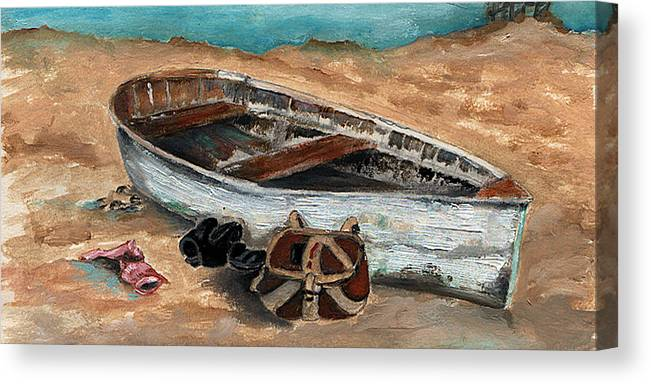 Boat Canvas Print featuring the painting Solitary by Penny Everhart