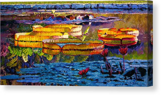 Water Lilies Canvas Print featuring the painting Sun Color And Paint by John Lautermilch