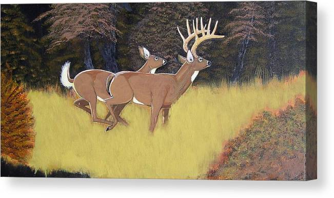 Deer Canvas Print featuring the painting The King And Queen by Dalton Shiflet