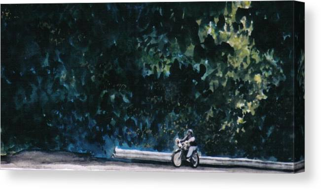 Watercolors Canvas Print featuring the painting the Long Ride by Saundra Lee York