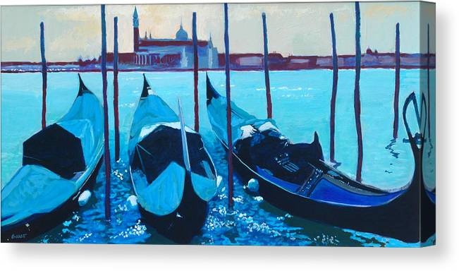 Venice Canvas Print featuring the painting Three Gondolas by Robert Bissett