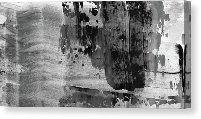 Time Of Decision Large Modern Black And White Abstract Painting Canvas Print