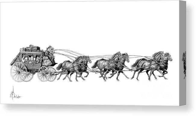 Pencil Canvas Print featuring the drawing Western Stagecoach by Murphy Elliott