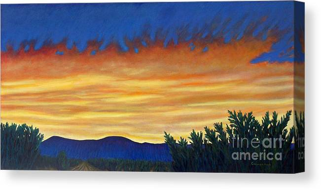 Sunset Canvas Print featuring the painting Winter Sunset In El Dorado by Brian Commerford