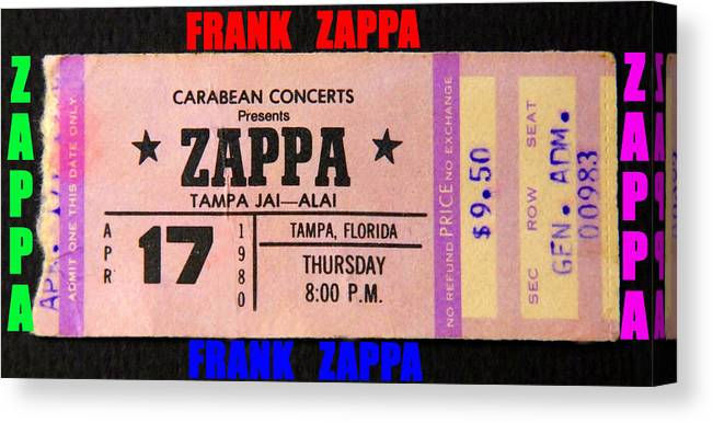 Frank Zappa Canvas Print featuring the photograph Frank Zappa 1980 Concert Ticket by David Lee Thompson