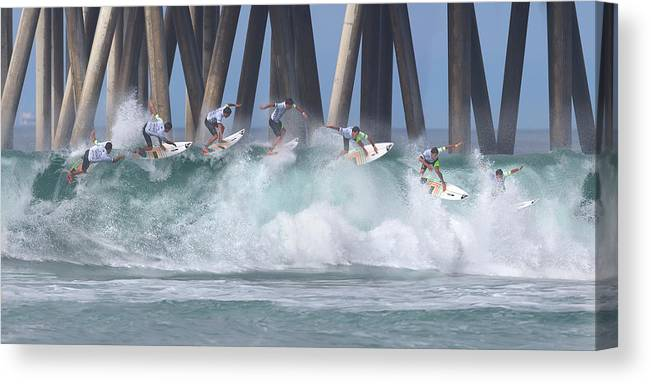 Surfing Canvas Print featuring the photograph Jeremy Flores Surfing Composite by Brian Knott Photography