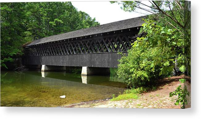 Covered Bridge Canvas Print featuring the photograph Stone Mountain Covered Bridge Panorama View by Jerry Griffin