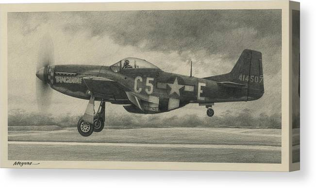 Aviation Art Canvas Print featuring the drawing Triple Ace by Wade Meyers
