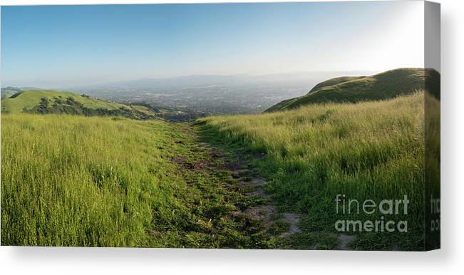 California Canvas Print featuring the photograph Walking Downhill Large Trail With Silicon Valley At The End by PorqueNo Studios