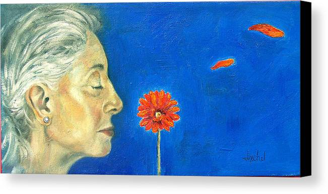 Flower Canvas Print featuring the painting Orange Gerbera On Cobalt by Ixchel Amor