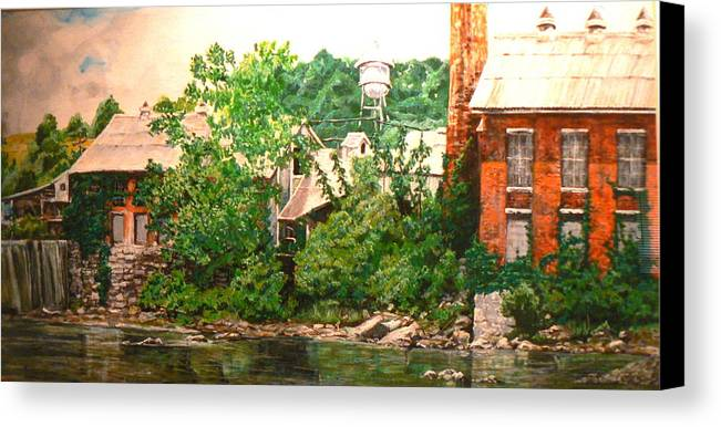 Landscape Canvas Print featuring the painting Paper Mill by Thomas Akers