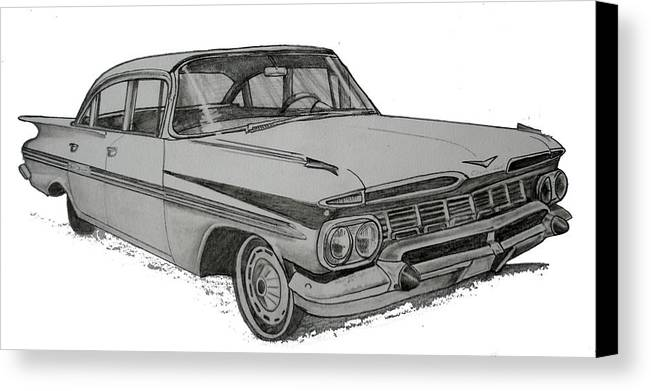 Canvas Print featuring the drawing 079-car by Keith Spence
