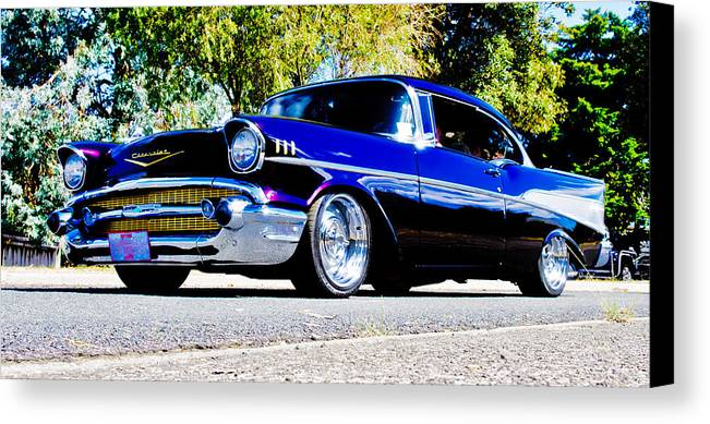 Custom Chevrolet Canvas Print featuring the photograph 1957 Chevrolet Bel Air by Phil 'motography' Clark