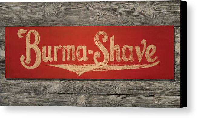 Sign Canvas Print featuring the painting Burma-shave Sign by Bill Jonas