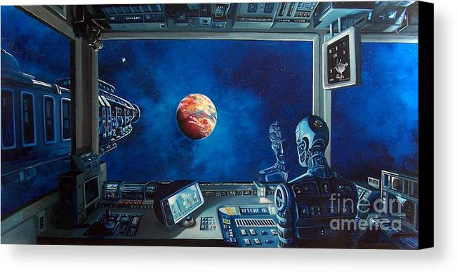 Fantasy Canvas Print featuring the painting Crying Robot by Murphy Elliott
