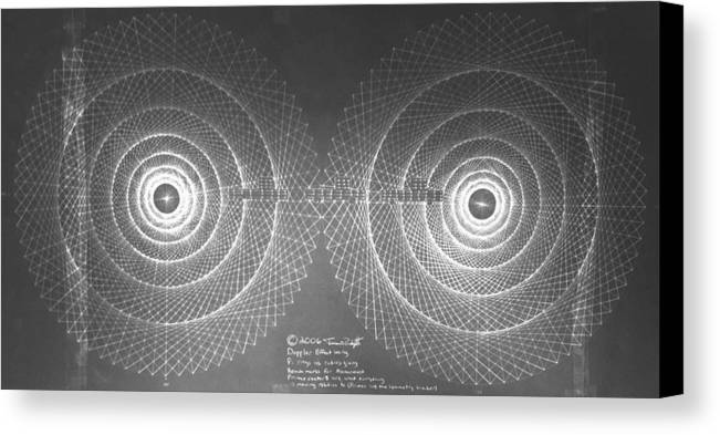 Doppler Canvas Print featuring the drawing Doppler Effect Parallel Universes by Jason Padgett