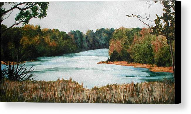 Watercolor Canvas Print featuring the painting Fort Toulouse Coosa Tallapoosa River by Beth Parrish