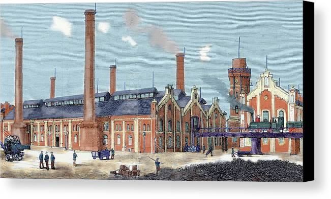 19th Century Canvas Print featuring the photograph Gas Plant Cologne, Germany Colored by Prisma Archivo
