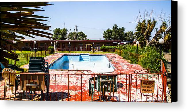 Route 66 Canvas Print featuring the photograph Motel Pool 3 by Angus Hooper Iii