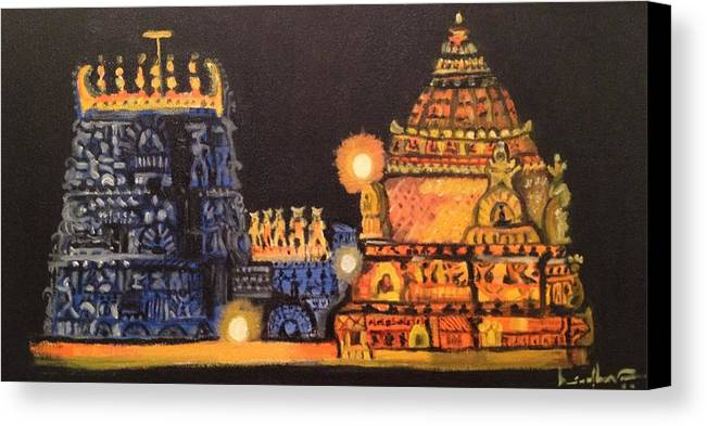 Indian Architecture Canvas Print featuring the painting Templelights by Brindha Naveen