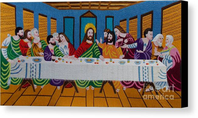 Autism Canvas Print featuring the tapestry - textile The Last Supper Hand Embroidery by To-Tam Gerwe
