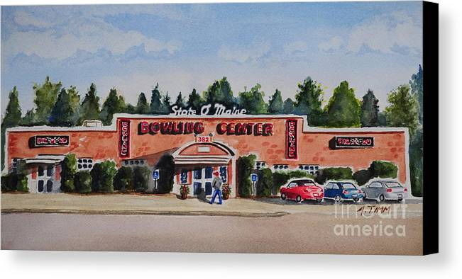 Canvas Print featuring the painting Bowling Center by Andrea Timm