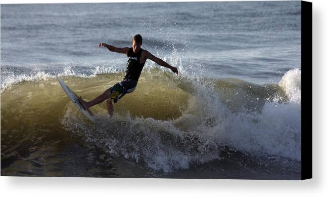 Surfer Canvas Print featuring the photograph Carving Through by Mary Haber