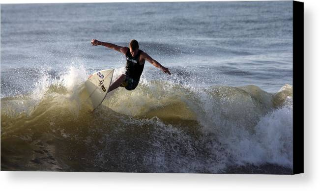 Ocean Canvas Print featuring the photograph Early Morning Surfing by Mary Haber