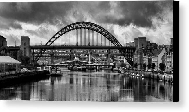 Newcastle Canvas Canvas Print featuring the photograph The Tyne Bridges by Trevor Kersley