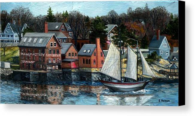 Gloucester Canvas Print featuring the painting Paint Factory, Gloucester, Ma by Eileen Patten Oliver