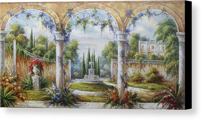 Castles Canvas Print featuring the painting Italian Historical Villas by Lucio Campana