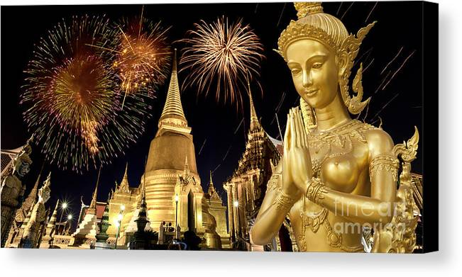 Ancient Canvas Print featuring the photograph Amazing Thailand by Anek Suwannaphoom