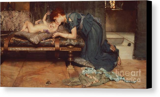 Earthly Canvas Print featuring the painting An Earthly Paradise by Sir Lawrence Alma-Tadema