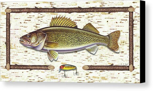 Walleye Canvas Print featuring the painting Birch Walleye by JQ Licensing
