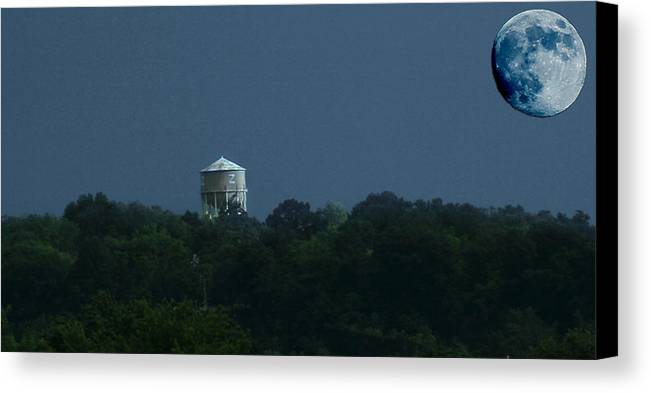 Blue Moon Canvas Print featuring the photograph Blue Moon Over Zanesville Water Tower by David Yocum