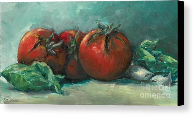 Tomatoes Canvas Print featuring the painting Bruscetta by Linda Vespasian